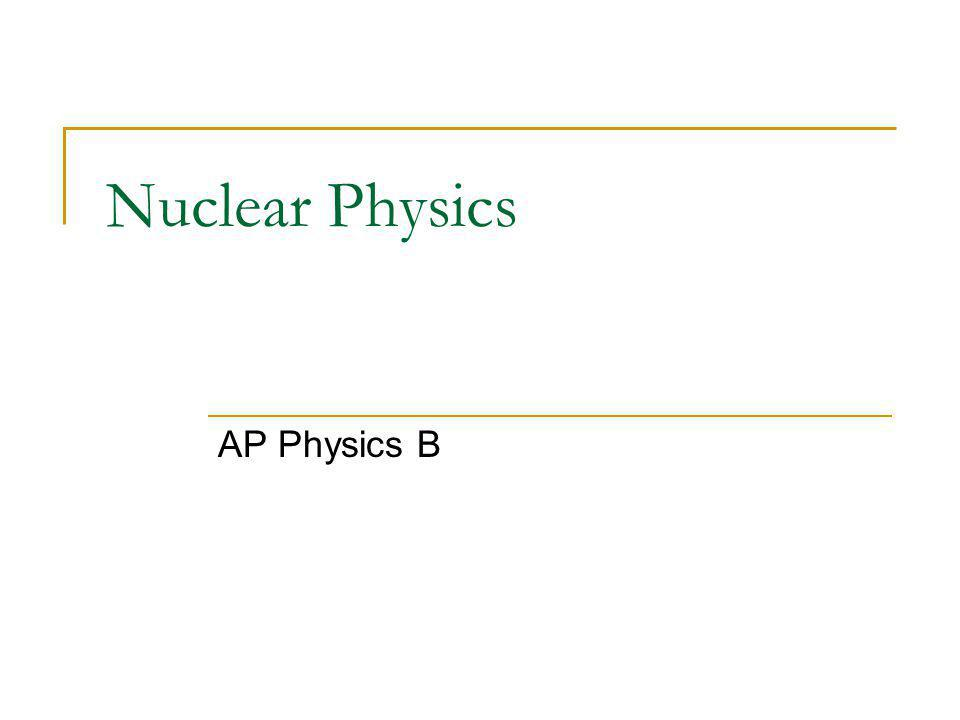 Nuclear Physics AP Physics B