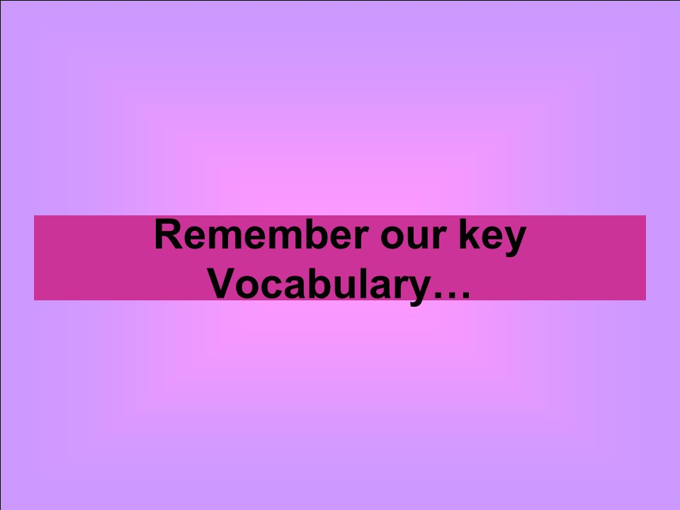 Remember our key Vocabulary…