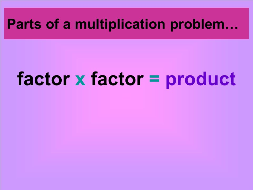 factor x factor = product Parts of a multiplication problem…