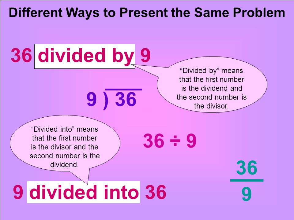 36 ÷ 9 36 9 Different Ways to Present the Same Problem 36 divided by 9 9 ) 36 9 divided into 36 Divided by means that the first number is the dividend and the second number is the divisor.