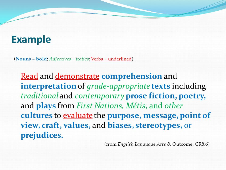 Example (Nouns – bold; Adjectives – italics; Verbs – underlined) Read and demonstrate comprehension and interpretation of grade-appropriate texts incl