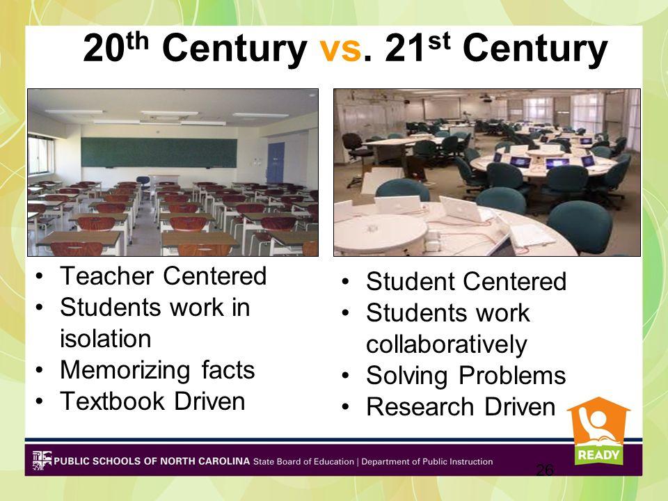 20 th Century vs. 21 st Century Teacher Centered Students work in isolation Memorizing facts Textbook Driven Student Centered Students work collaborat