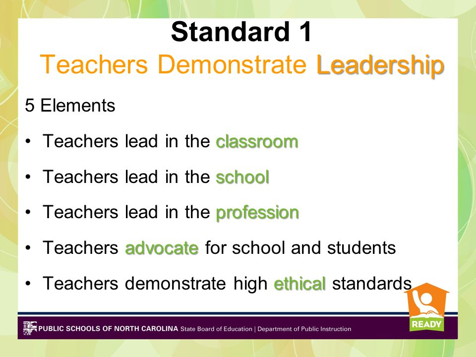 5 Elements classroomTeachers lead in the classroom schoolTeachers lead in the school professionTeachers lead in the profession advocateTeachers advocate for school and students ethicalTeachers demonstrate high ethical standards Leadership Standard 1 Teachers Demonstrate Leadership