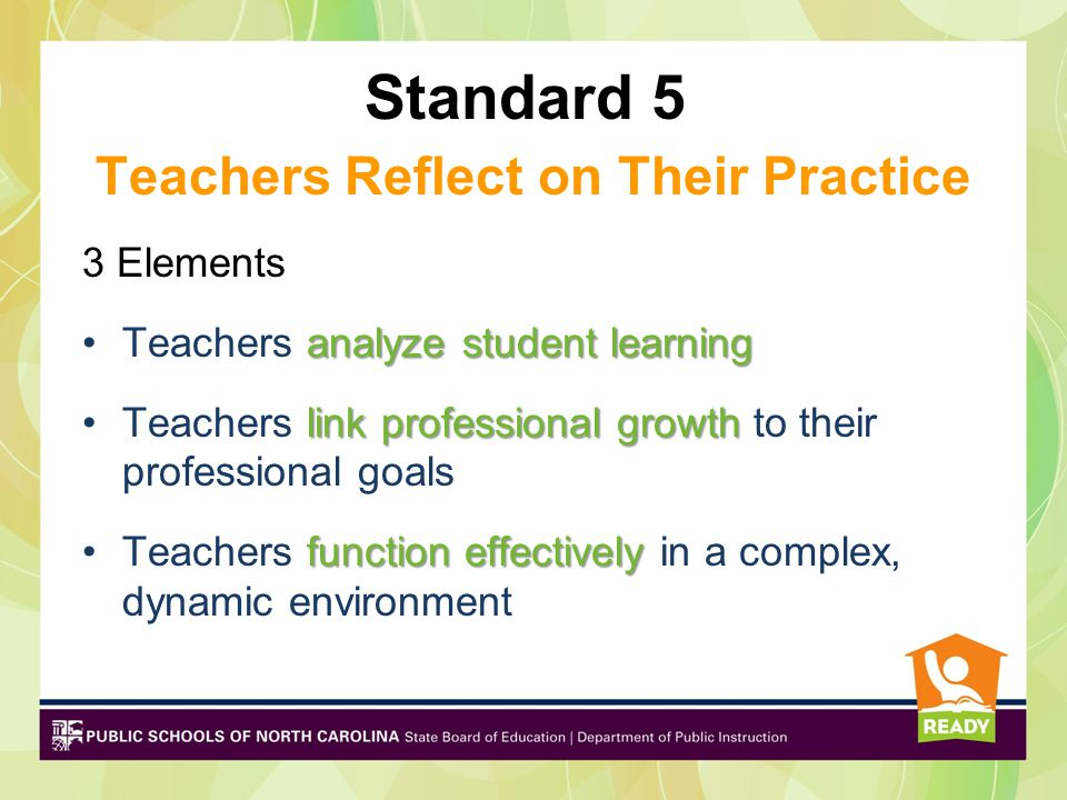 Standard 5 Teachers Reflect on Their Practice 3 Elements analyze student learningTeachers analyze student learning link professional growthTeachers link professional growth to their professional goals function effectivelyTeachers function effectively in a complex, dynamic environment