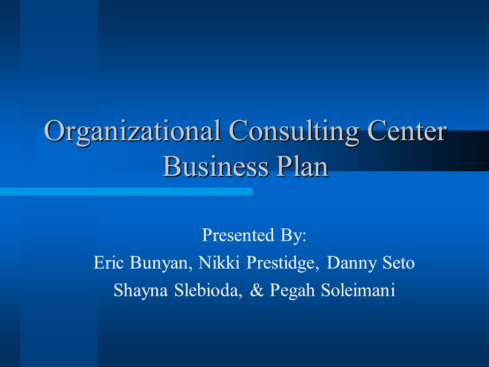 Organizational Consulting Center Business Plan Presented By: Eric Bunyan, Nikki Prestidge, Danny Seto Shayna Slebioda, & Pegah Soleimani