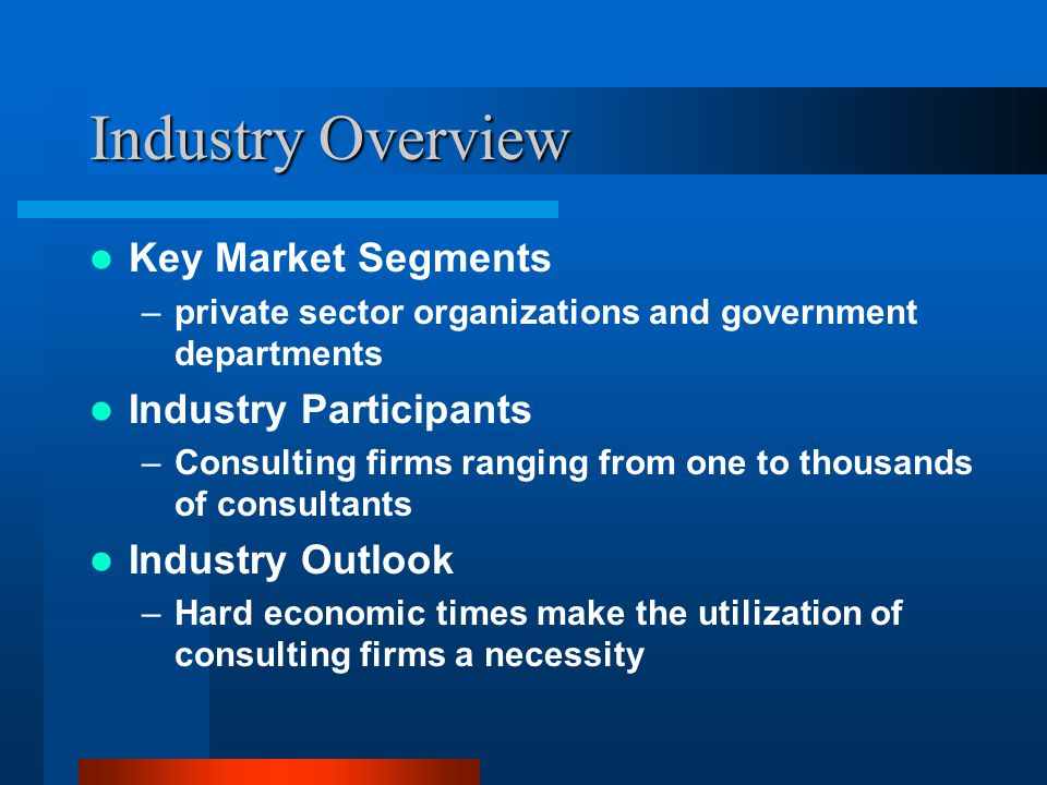 Industry Overview Key Market Segments –private sector organizations and government departments Industry Participants –Consulting firms ranging from one to thousands of consultants Industry Outlook –Hard economic times make the utilization of consulting firms a necessity