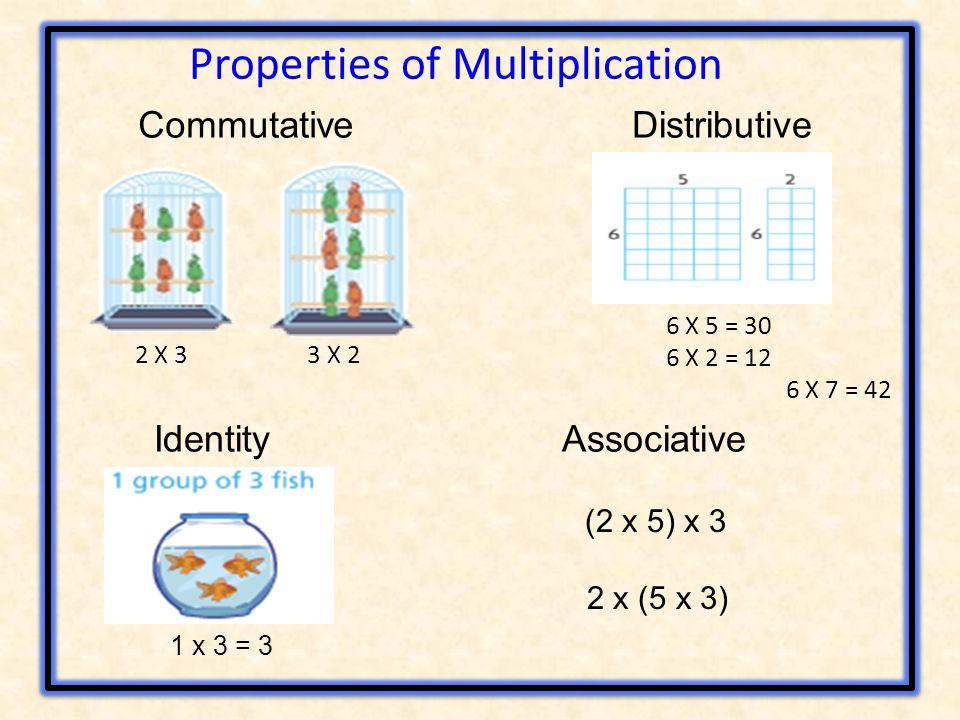 CommutativeDistributive 2 X 3 3 X 2 6 X 5 = 30 6 X 2 = 12 6 X 7 = 42 Properties of Multiplication Identity 1 x 3 = 3 Associative (2 x 5) x 3 2 x (5 x 3)
