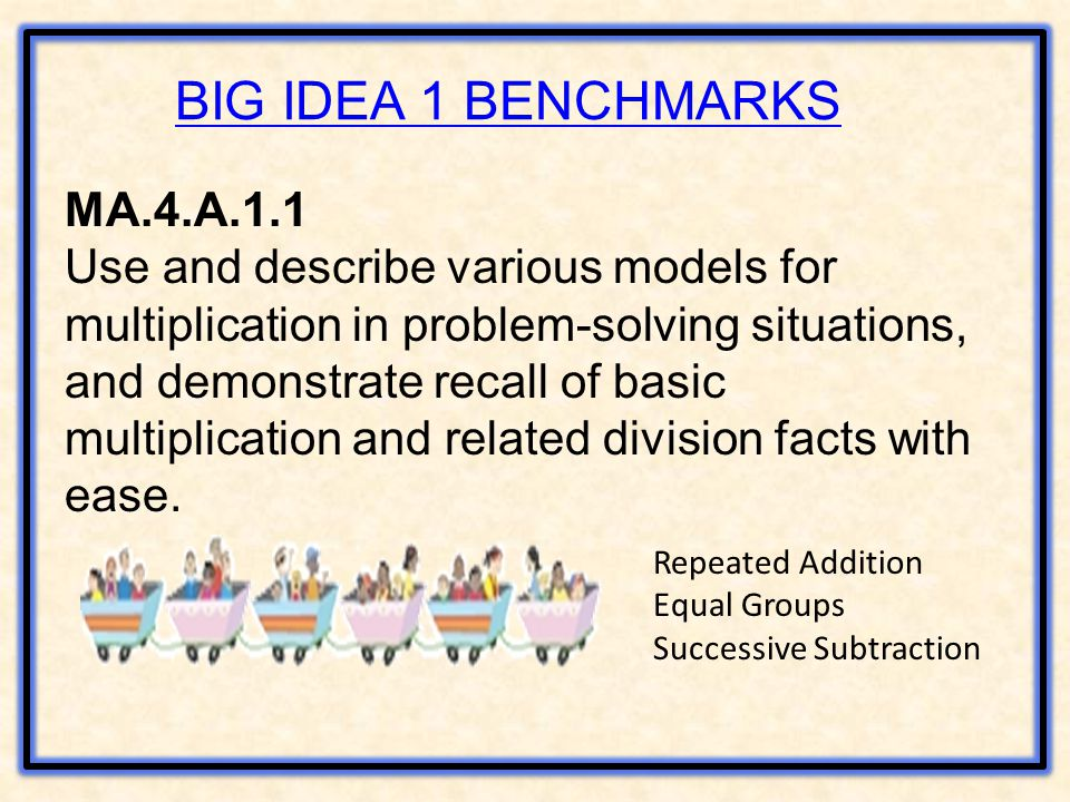 BIG IDEA 1 BENCHMARKS MA.4.A.1.1 Use and describe various models for multiplication in problem-solving situations, and demonstrate recall of basic multiplication and related division facts with ease.