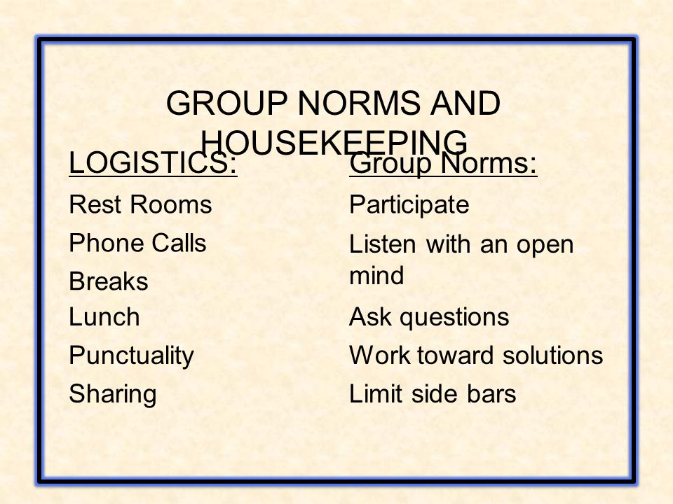 GROUP NORMS AND HOUSEKEEPING LOGISTICS: Phone Calls Rest Rooms Breaks Lunch Punctuality Sharing Group Norms: Participate Listen with an open mind Ask
