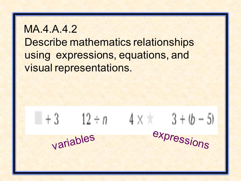 MA.4.A.4.2 Describe mathematics relationships using expressions, equations, and visual representations.