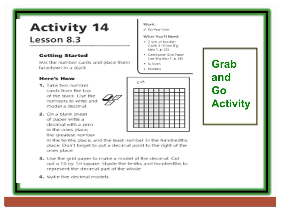 Grab and Go Activity