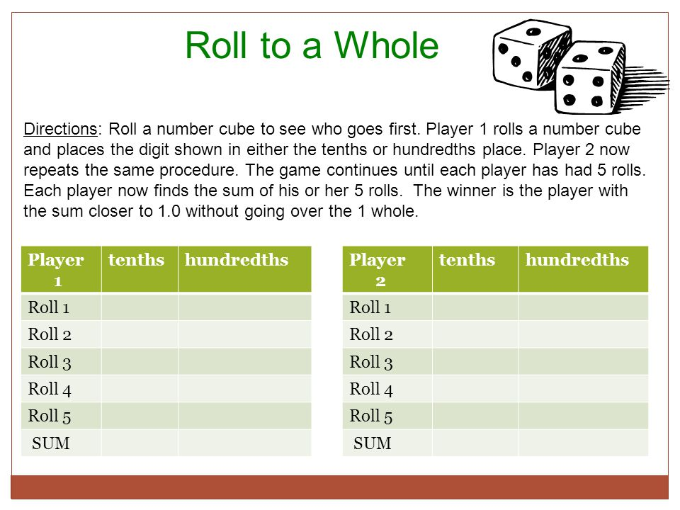 Roll to a Whole Directions: Roll a number cube to see who goes first.