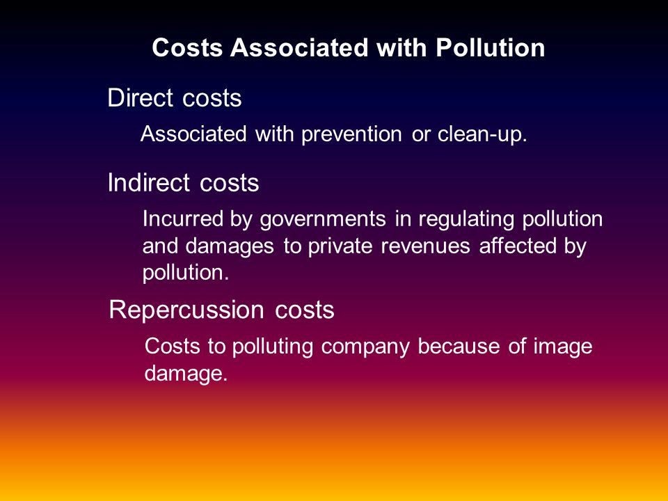 Costs Associated with Pollution Direct costs Indirect costs Associated with prevention or clean-up. Incurred by governments in regulating pollution an