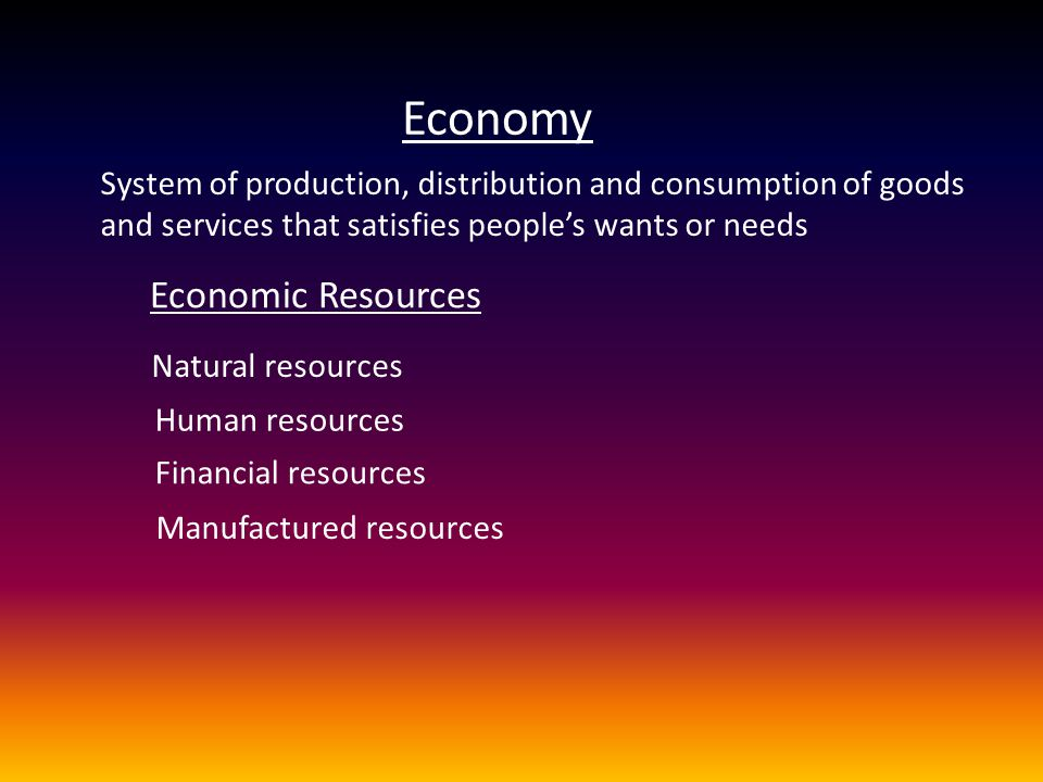 Economy System of production, distribution and consumption of goods and services that satisfies people's wants or needs Economic Resources Natural res
