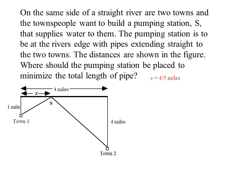 On the same side of a straight river are two towns and the townspeople want to build a pumping station, S, that supplies water to them. The pumping st