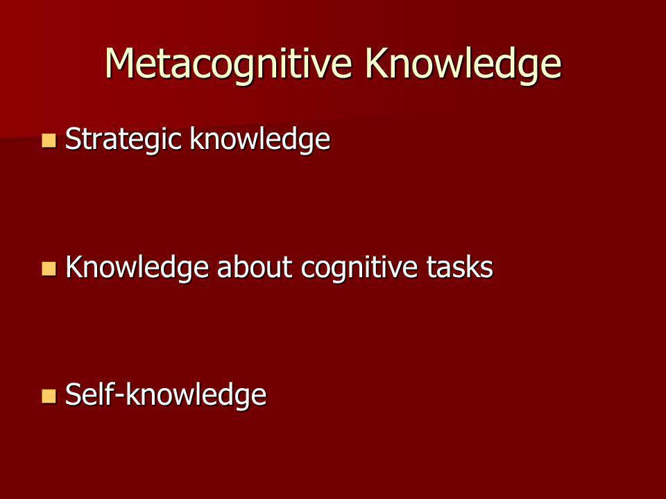 Metacognitive Knowledge Strategic knowledge Strategic knowledge Knowledge about cognitive tasks Knowledge about cognitive tasks Self-knowledge Self-knowledge