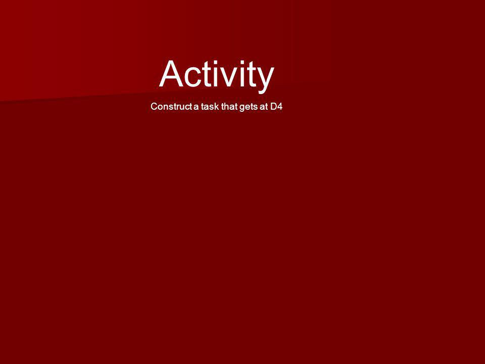 Activity Construct a task that gets at D4