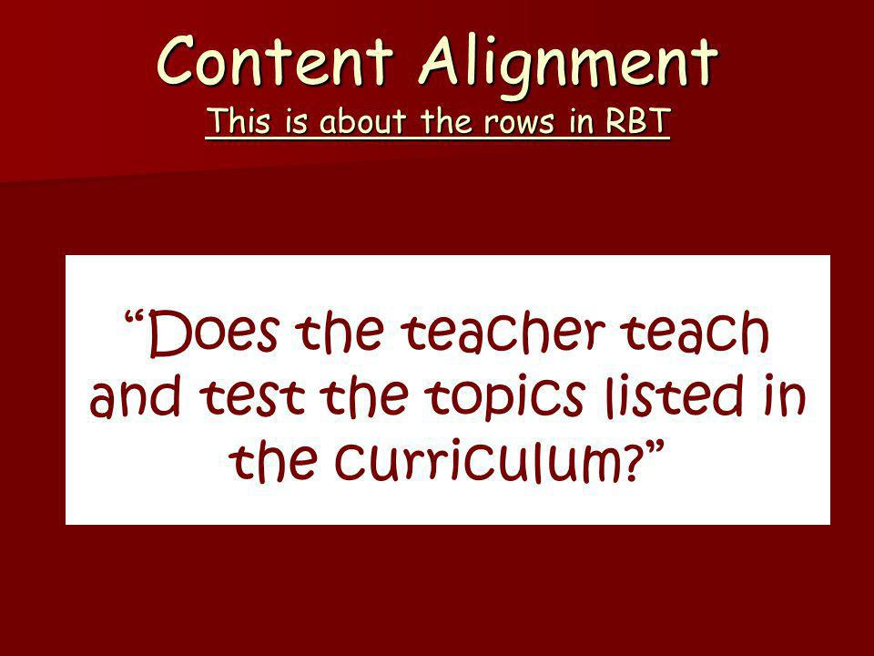 Content Alignment This is about the rows in RBT Does the teacher teach and test the topics listed in the curriculum?