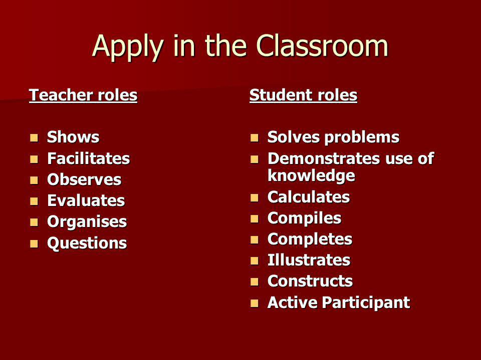 Apply in the Classroom Teacher roles Shows Shows Facilitates Facilitates Observes Observes Evaluates Evaluates Organises Organises Questions Questions Student roles Solves problems Solves problems Demonstrates use of knowledge Demonstrates use of knowledge Calculates Calculates Compiles Compiles Completes Completes Illustrates Illustrates Constructs Constructs Active Participant Active Participant