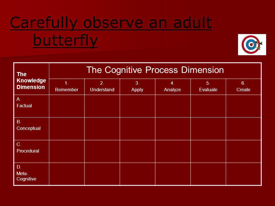 Carefully observe an adult butterfly The Knowledge Dimension The Cognitive Process Dimension 1.