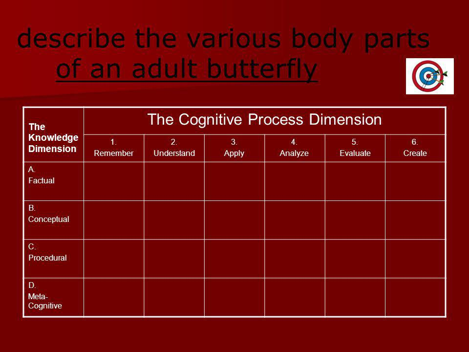 describe the various body parts of an adult butterfly The Knowledge Dimension The Cognitive Process Dimension 1.