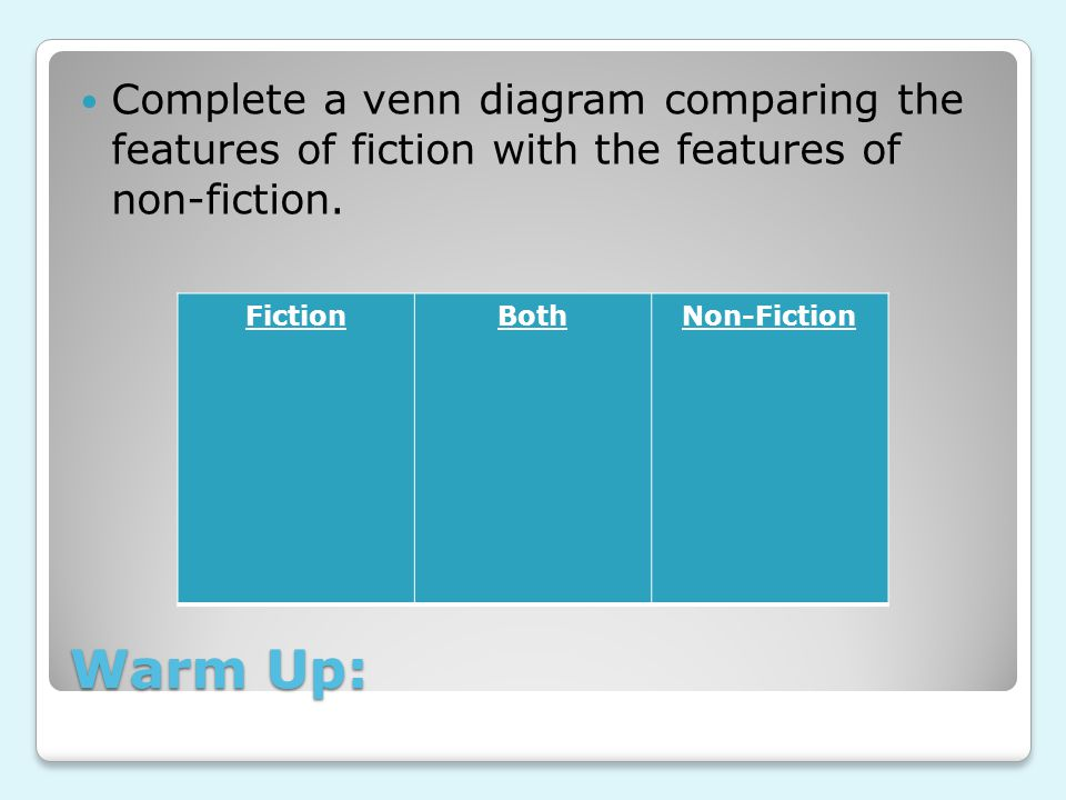 Warm Up: Complete a venn diagram comparing the features of fiction with the features of non-fiction.
