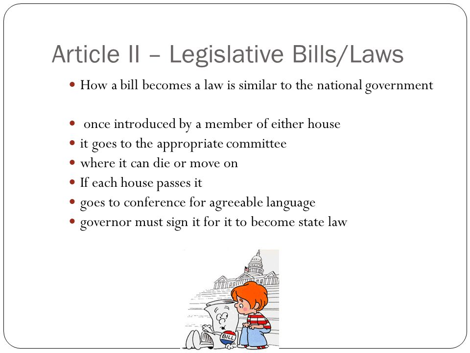 Article II – Legislative Bills/Laws How a bill becomes a law is similar to the national government once introduced by a member of either house it goes