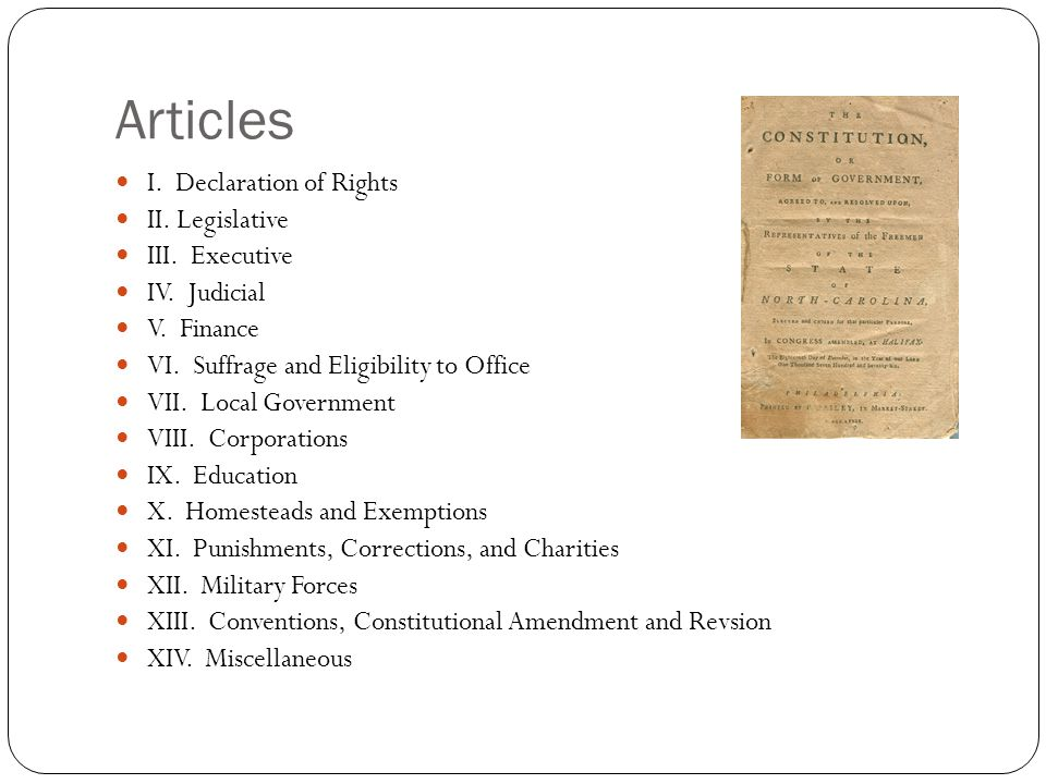 Article I – Declaration of Rights Very similar to Bill of Rights Divided into 37 sections Section 1 - The equality and rights of persons Section 2 – Sovereignty of the people Section 3 – Internal government of the State Section 4 – Secession prohibited Section 5 – Allegiance to the United States Section 6 – Separation of Powers Section 7 – Suspending Laws