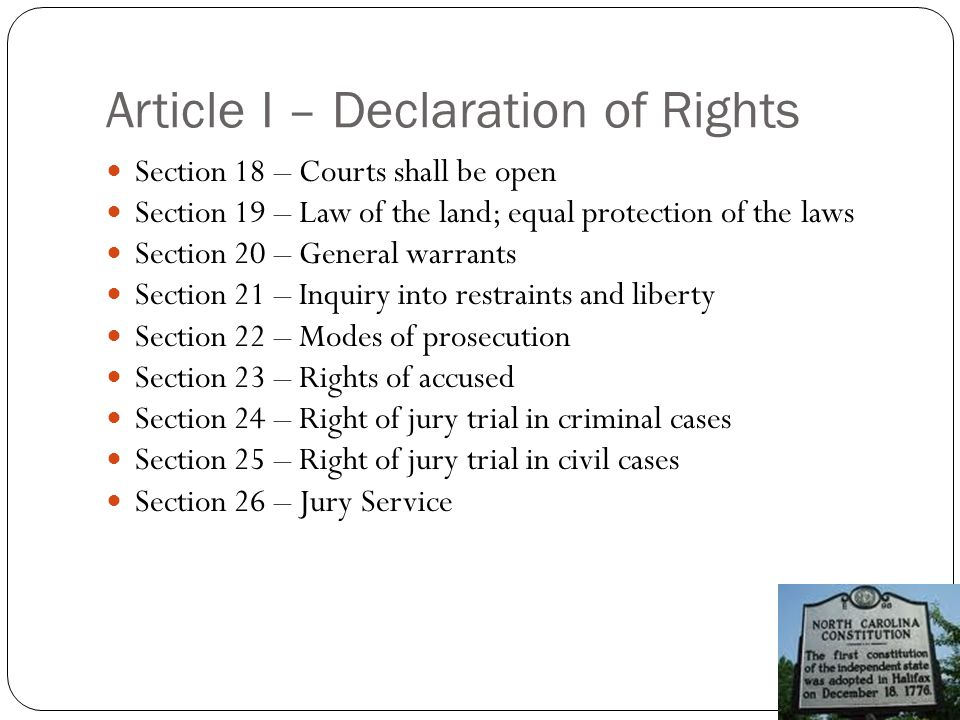 Article I – Declaration of Rights Section 27 – Bail, fines, and punishments Section 28 – Imprisonment for debt Section 29 – Treason against State Section 30 – Militia and the right to bear arms Section 31 – Quartering of soldiers Section 32 – Exclusive payments (salaries) Section 33 – Hereditary payments and honors Section 34 – Perpetuities and monopolies Section 35 – Recurrence of fundamental principles Section 36 – Other rights of people Section 37 – Rights of victims of crimes