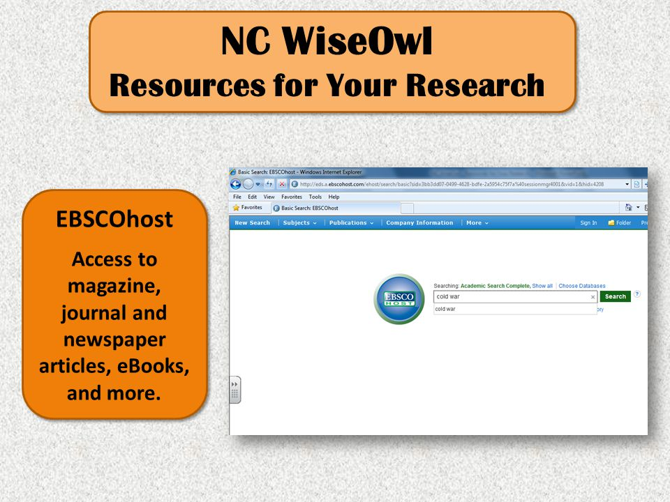 NC WiseOwl Resources for Your Research Britannica K-12 This online encyclopedia provides a wealth of information and research tools for every student.