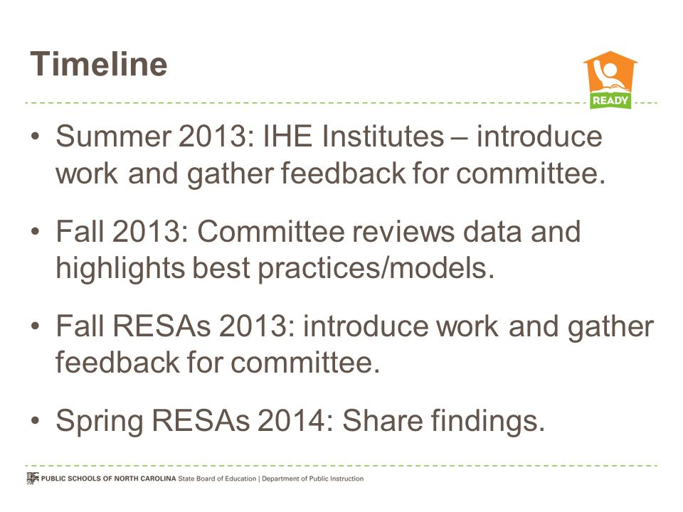 Timeline Summer 2013: IHE Institutes – introduce work and gather feedback for committee.