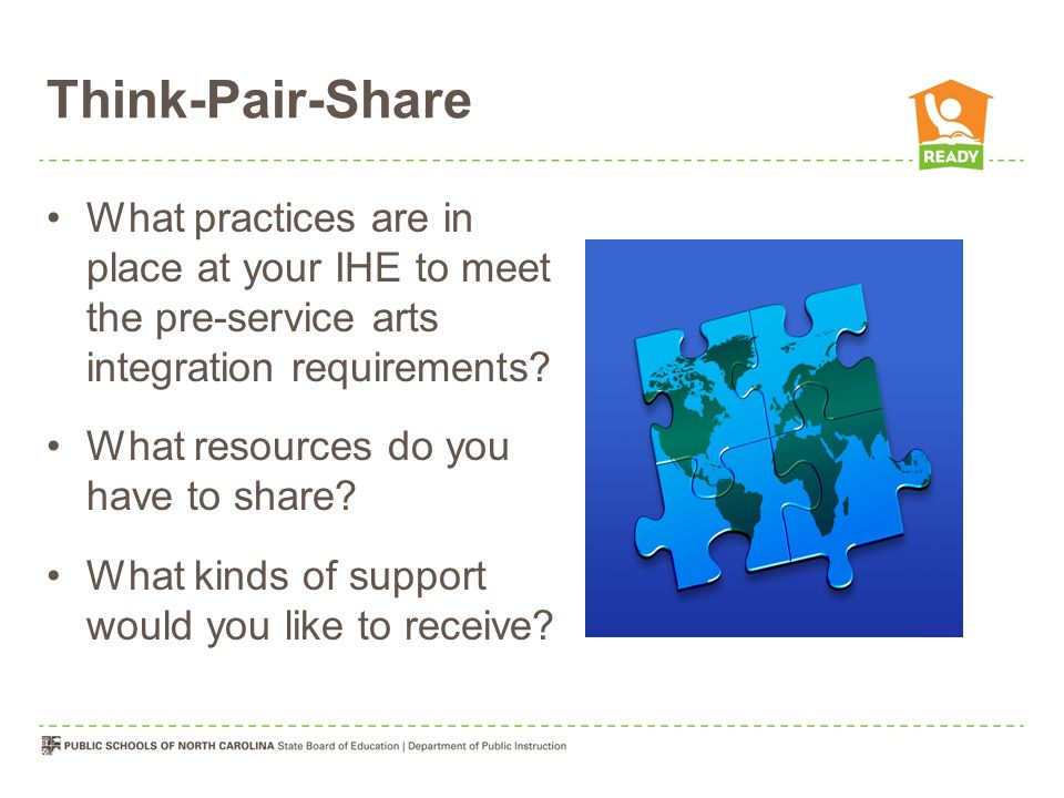 Think-Pair-Share What practices are in place at your IHE to meet the pre-service arts integration requirements.