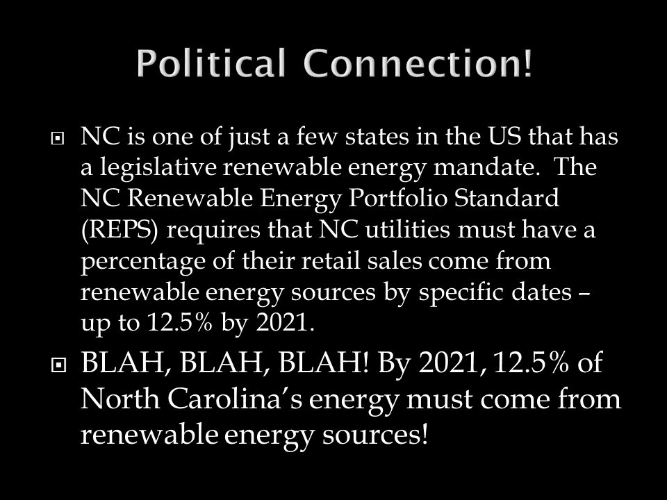  What types of alternative energy would be most useful and most easily accessible in North Carolina..