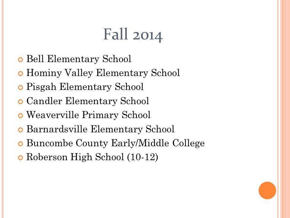Fall 2014 Bell Elementary School Hominy Valley Elementary School Pisgah Elementary School Candler Elementary School Weaverville Primary School Barnard