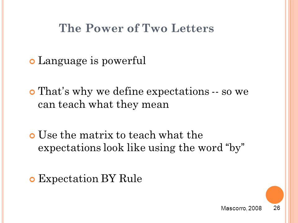 The Power of Two Letters Language is powerful That's why we define expectations -- so we can teach what they mean Use the matrix to teach what the exp