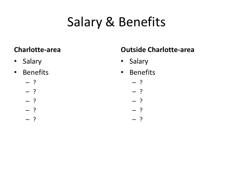 Salary & Benefits Charlotte-area Salary Benefits – Outside Charlotte-area Salary Benefits –