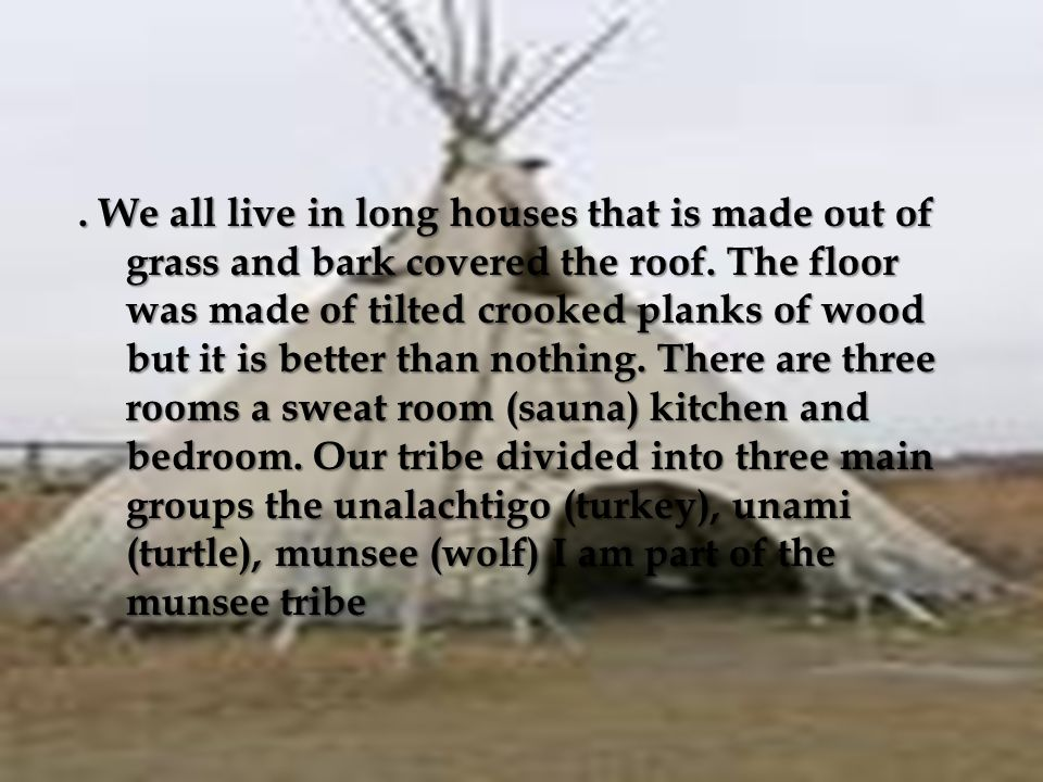 . We all live in long houses that is made out of grass and bark covered the roof. The floor was made of tilted crooked planks of wood but it is better