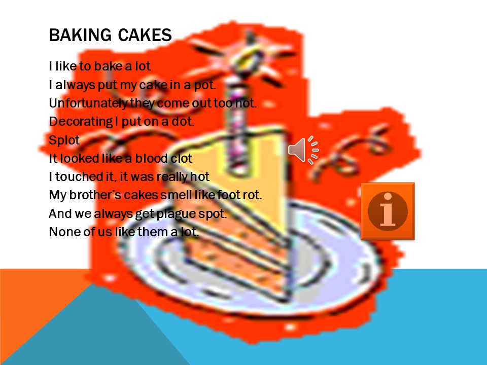 CONTENTS Baking Cakes Miss Hitch Sweets The Dragon Summer Good and Evil My Limereck School Oh School Bed