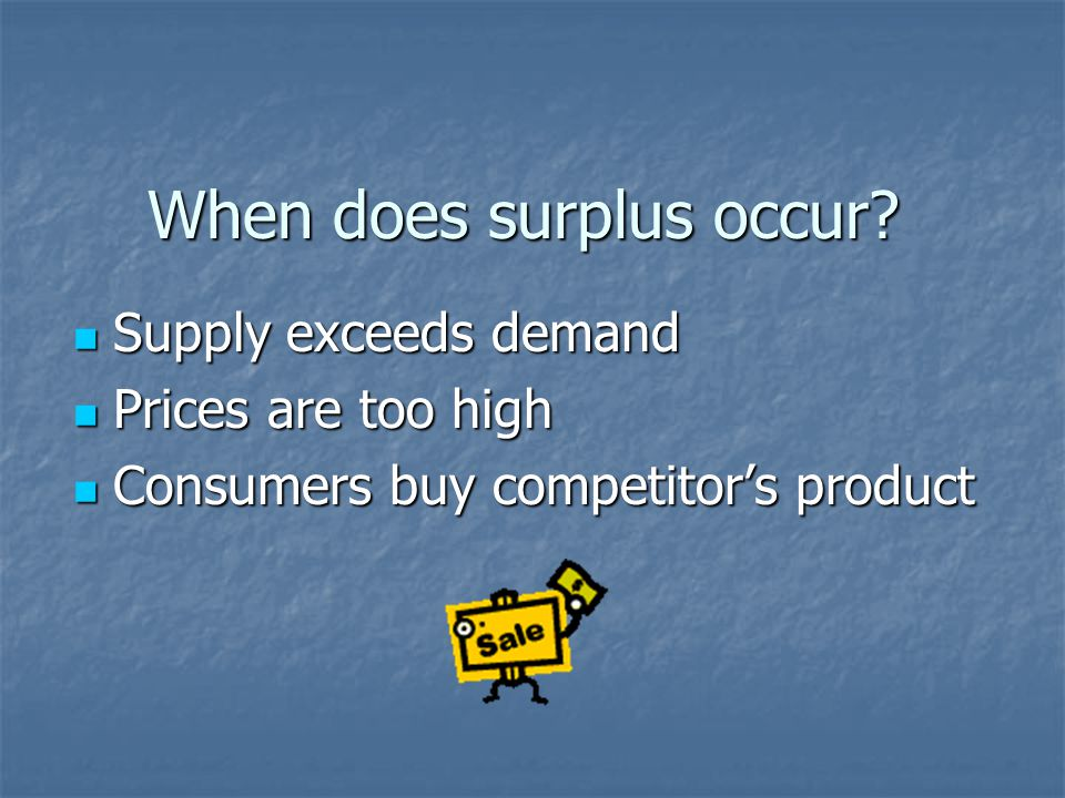 When does surplus occur.
