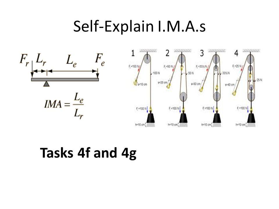 Self-Explain I.M.A.s Tasks 4f and 4g