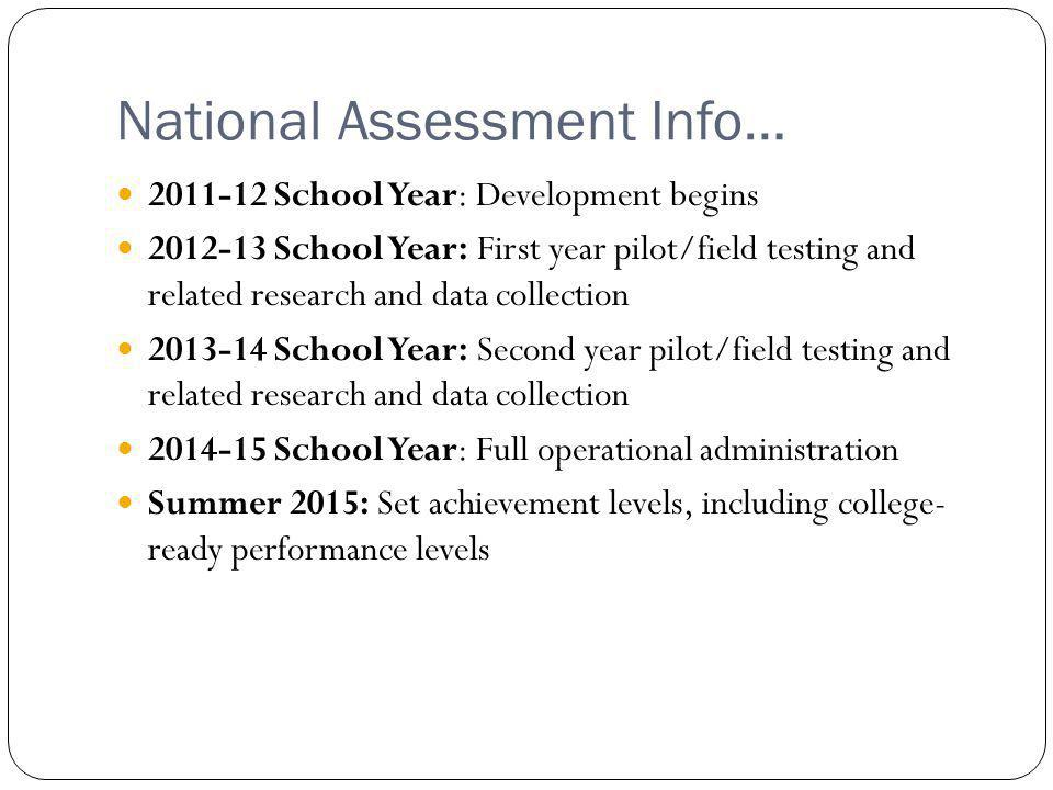 National Assessment Info… Adaptive Computer based Through course and end of course Framework for quarter-by-quarter assessments currently in the works