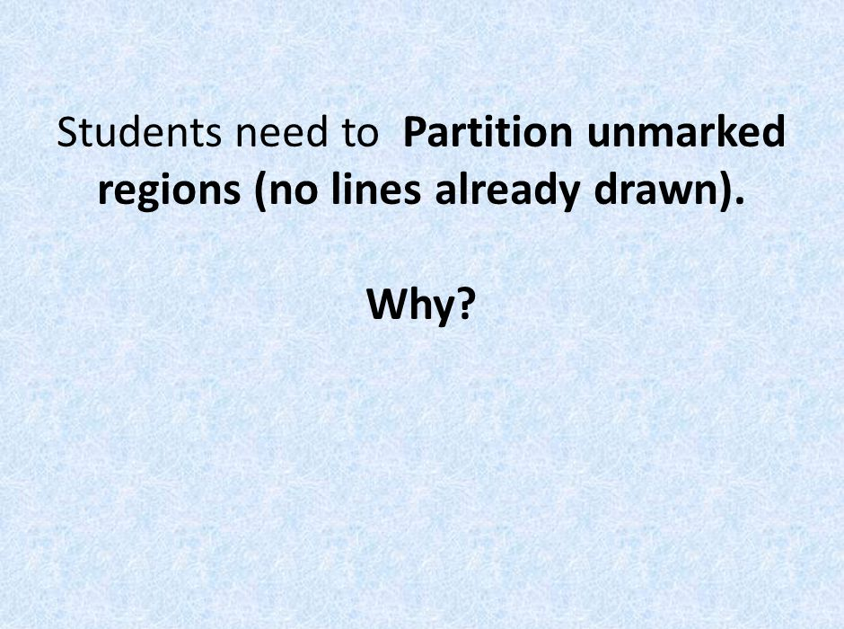 Students need to Partition unmarked regions (no lines already drawn). Why?