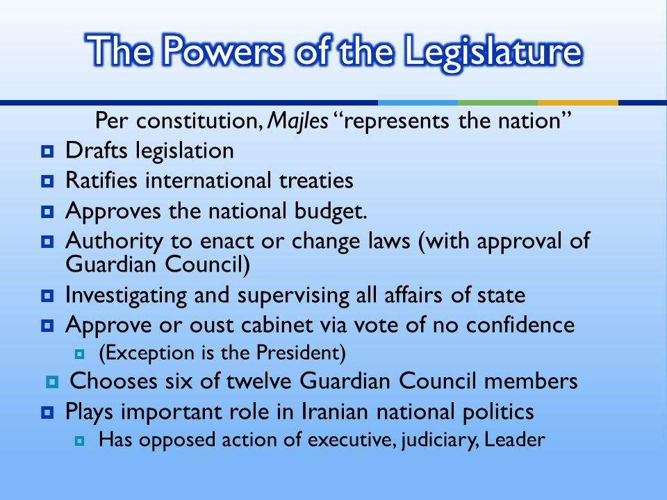 Per constitution, Majles represents the nation  Drafts legislation  Ratifies international treaties  Approves the national budget.