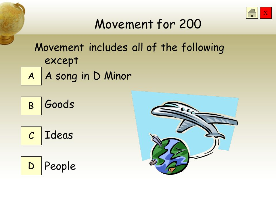 X Movement for 100 Movement helps geographers by… Hiring a moving company Moving maps when they need them moved Understanding relationships between pl