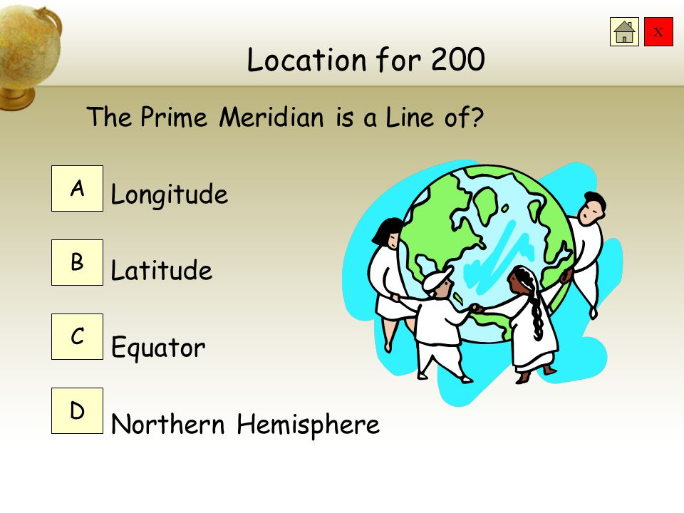 X Location for 200 The Prime Meridian is a Line of.