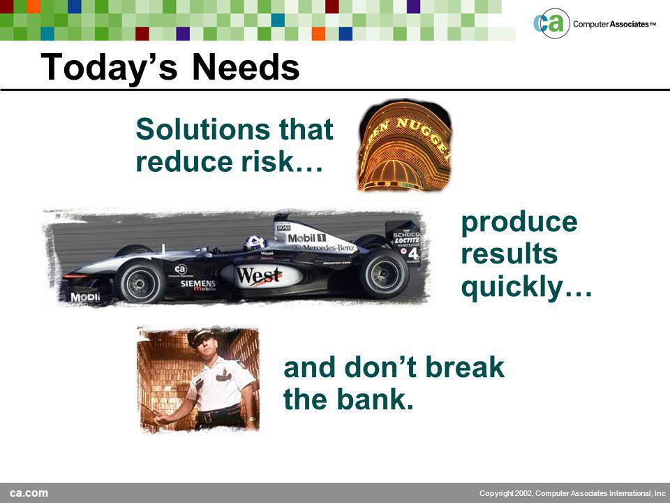 ca.com Copyright 2002, Computer Associates International, Inc Today's Needs produce results quickly… and don't break the bank.