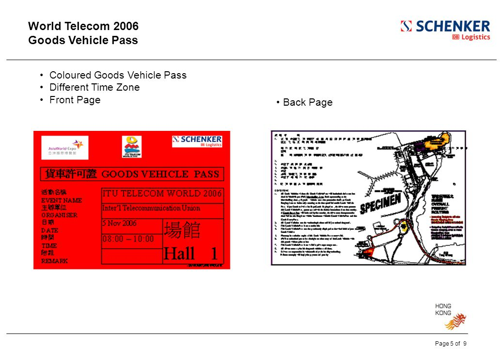 World Telecom 2006 Goods Vehicle Pass Coloured Goods Vehicle Pass Different Time Zone Front Page Back Page Page 5 of 9