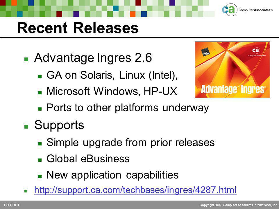 ca.com Copyright 2002, Computer Associates International, Inc Recent Releases  Advantage Ingres 2.6  GA on Solaris, Linux (Intel),  Microsoft Windows, HP-UX  Ports to other platforms underway  Supports  Simple upgrade from prior releases  Global eBusiness  New application capabilities  http://support.ca.com/techbases/ingres/4287.html