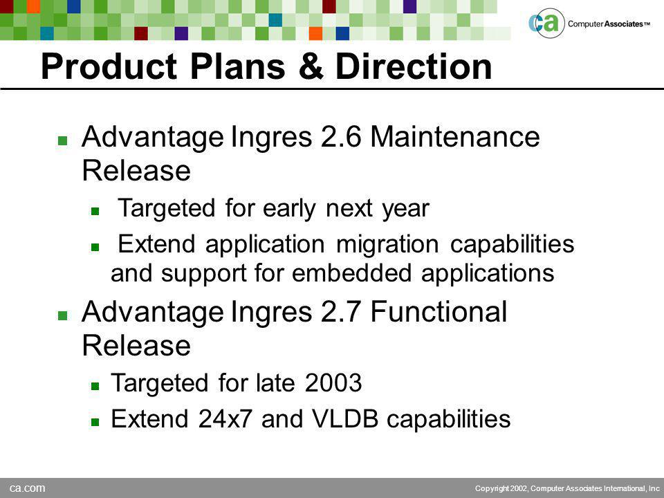 ca.com Copyright 2002, Computer Associates International, Inc Product Plans & Direction  Advantage Ingres 2.6 Maintenance Release  Targeted for early next year  Extend application migration capabilities and support for embedded applications  Advantage Ingres 2.7 Functional Release  Targeted for late 2003  Extend 24x7 and VLDB capabilities