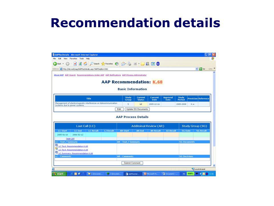 Recommendation details